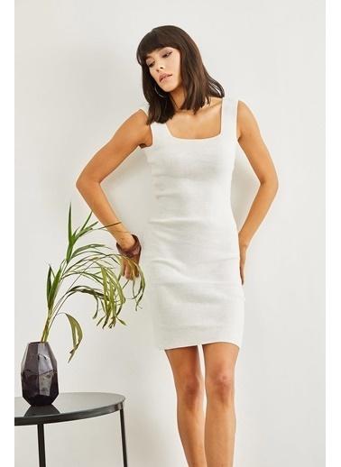 Sortee Kadın Kare Yaka Elbise Beyaz